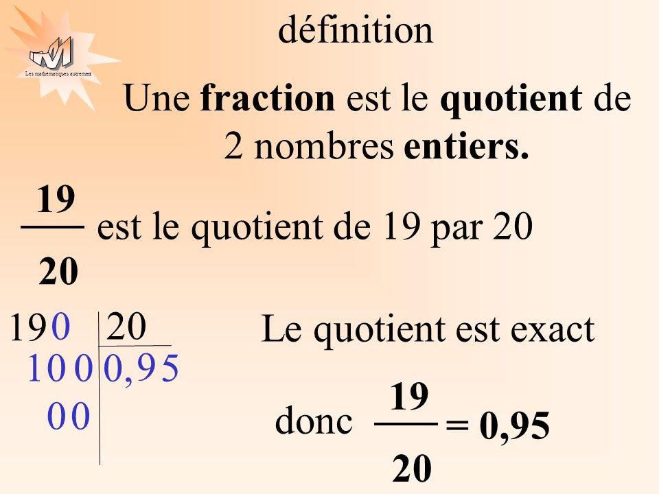Une fraction est le quotient de 2 nombres entiers.