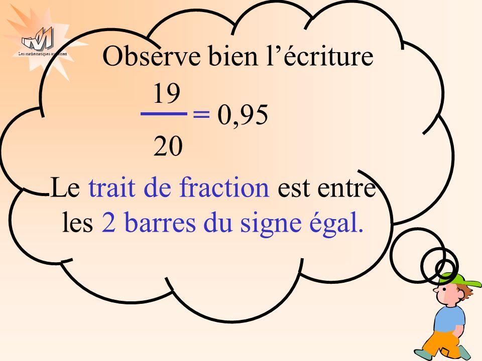 Le trait de fraction est entre les 2 barres du signe égal.