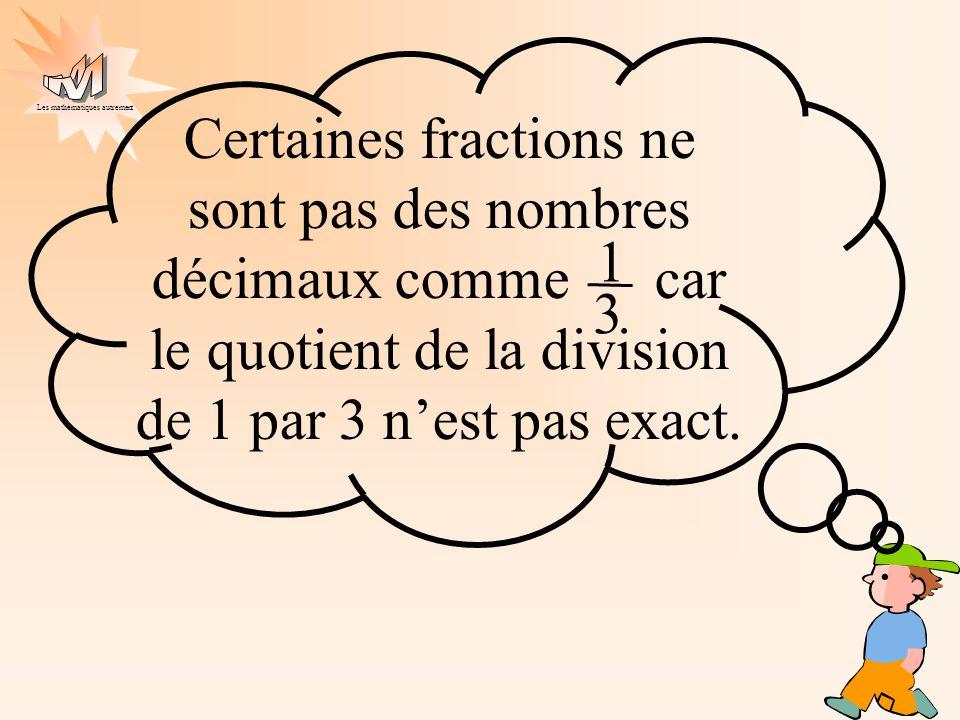 Certaines fractions ne sont pas des nombres décimaux comme car le quotient de la division de 1 par 3 n'est pas exact.