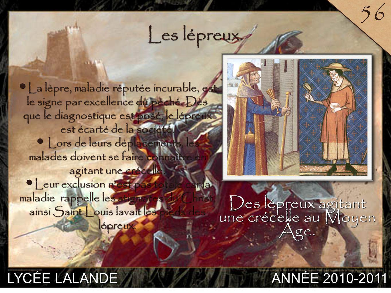Des lépreux agitant une crécelle au Moyen Âge.