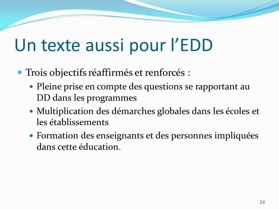 Un texte aussi pour l'EDD