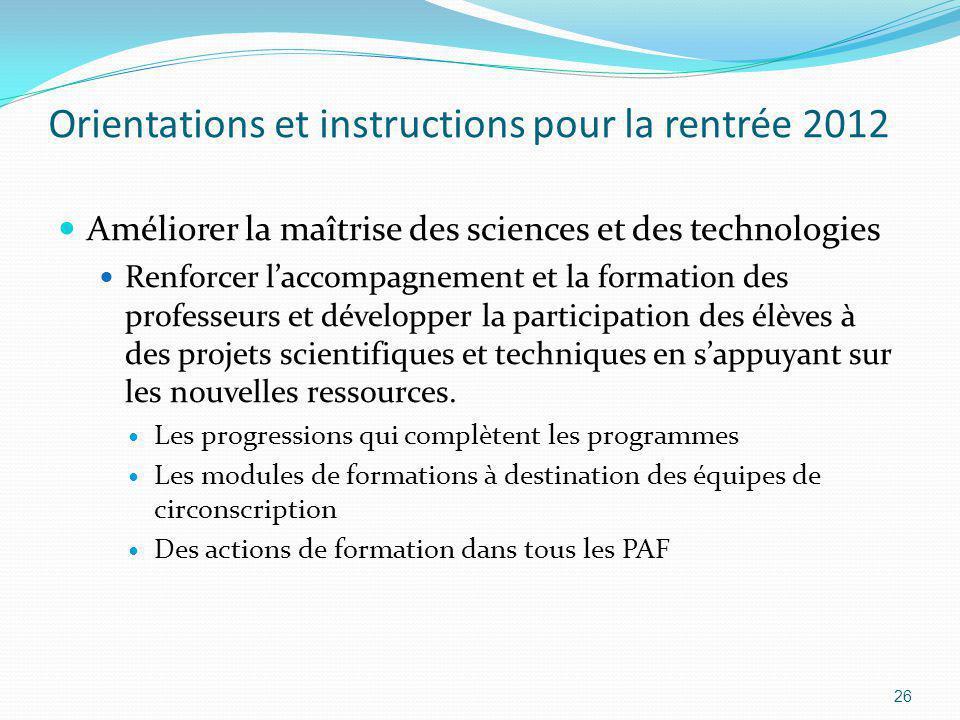 Orientations et instructions pour la rentrée 2012