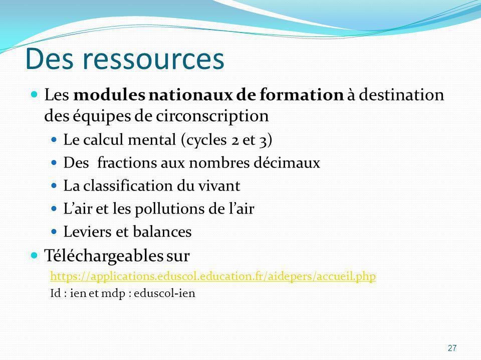 Des ressources Les modules nationaux de formation à destination des équipes de circonscription. Le calcul mental (cycles 2 et 3)