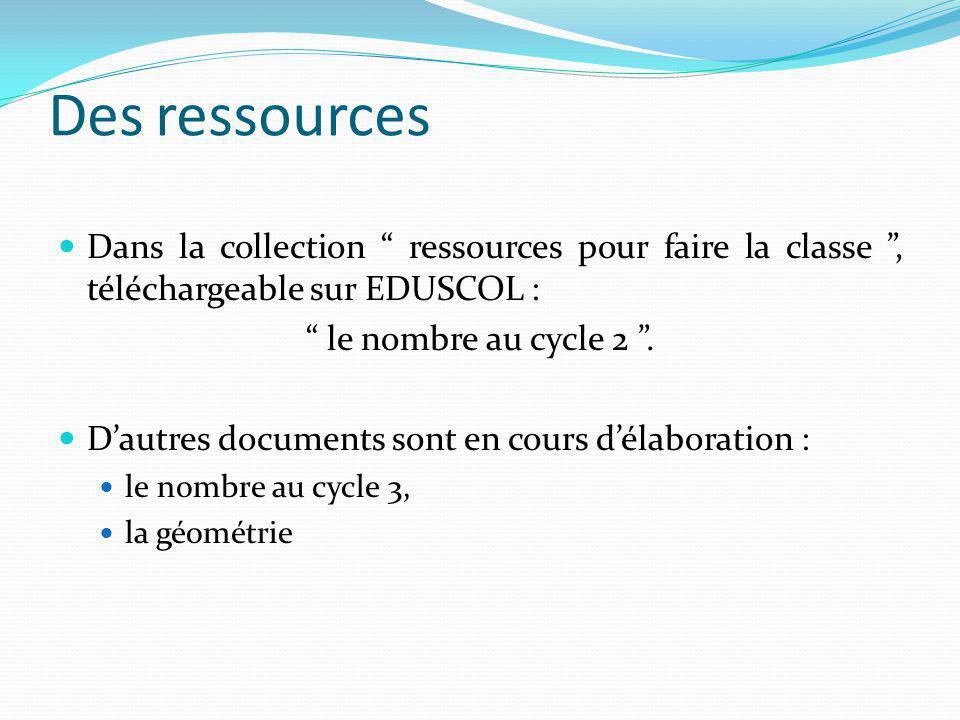 Des ressources Dans la collection ressources pour faire la classe , téléchargeable sur EDUSCOL :