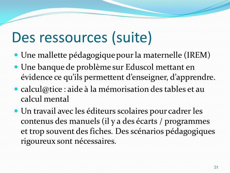 Des ressources (suite)