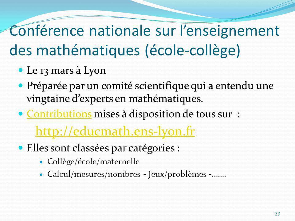 Conférence nationale sur l'enseignement des mathématiques (école-collège)
