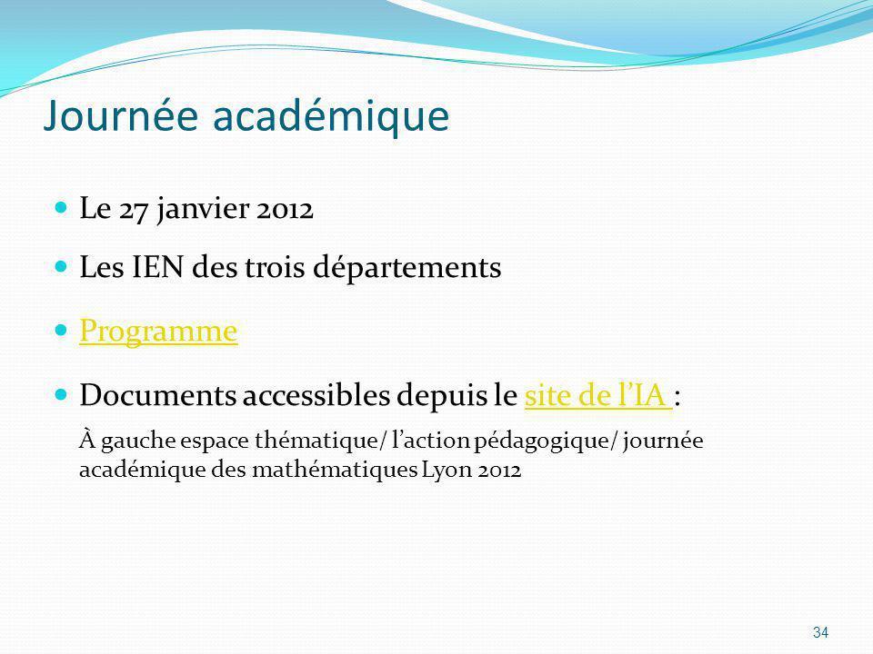 Journée académique Le 27 janvier 2012 Les IEN des trois départements