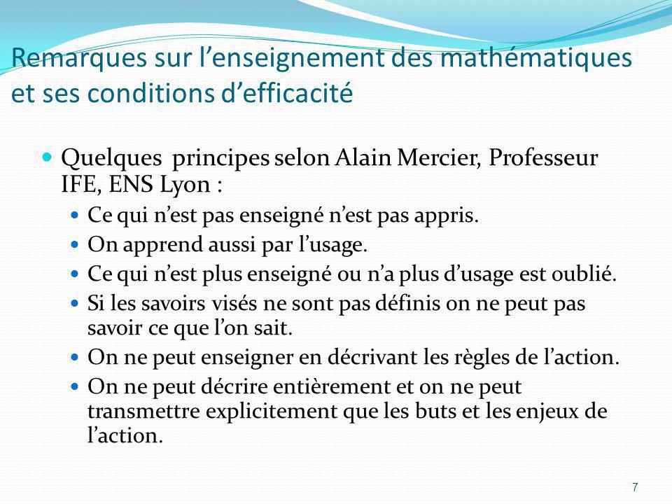 Remarques sur l'enseignement des mathématiques et ses conditions d'efficacité
