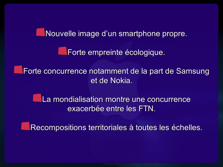 Nouvelle image d'un smartphone propre. Forte empreinte écologique.