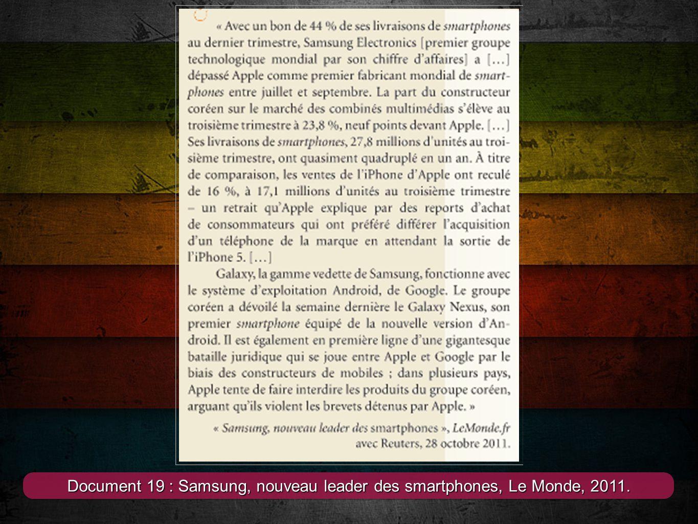 Document 19 : Samsung, nouveau leader des smartphones, Le Monde, 2011.