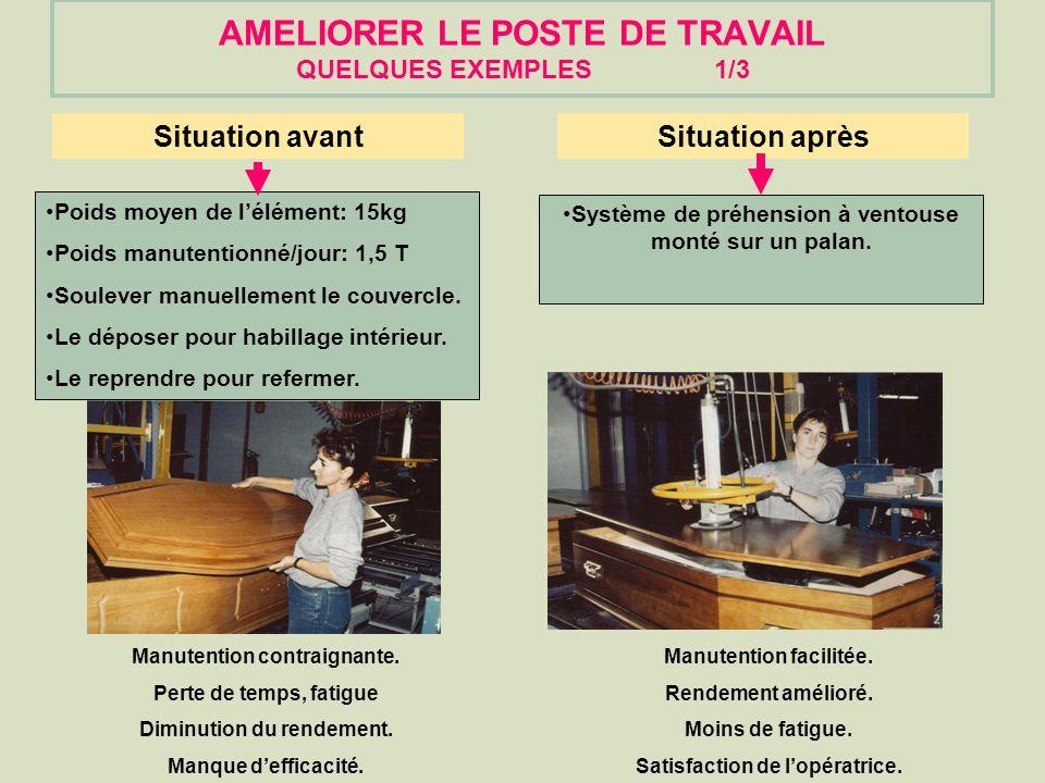 AMELIORER LE POSTE DE TRAVAIL QUELQUES EXEMPLES 1/3