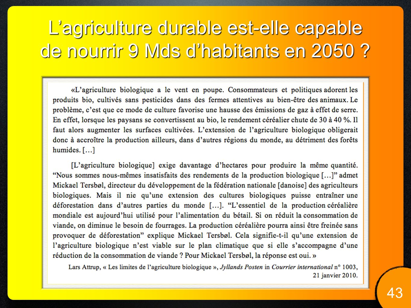 L'agriculture durable est-elle capable de nourrir 9 Mds d'habitants en 2050