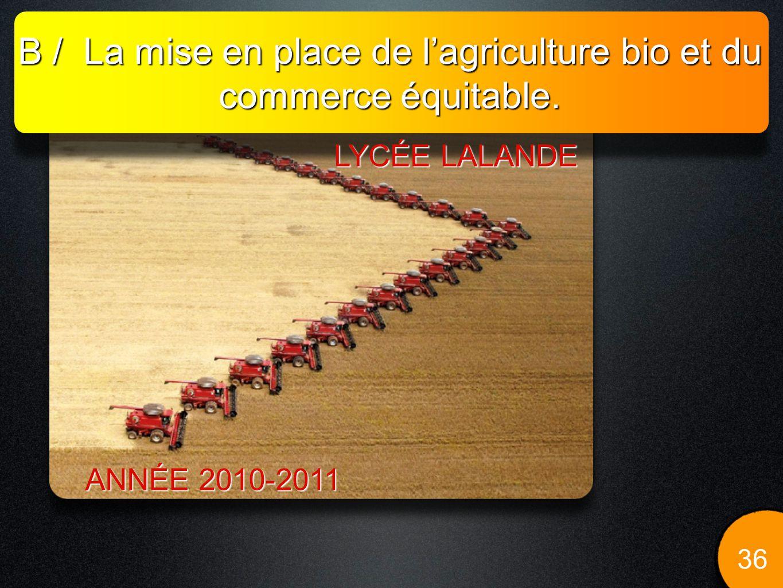 B / La mise en place de l'agriculture bio et du commerce équitable.