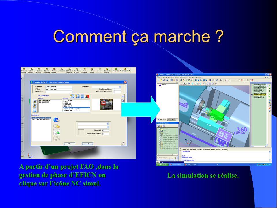 Comment ça marche A partir d'un projet FAO ,dans la gestion de phase d'EFICN on clique sur l'icône NC simul.