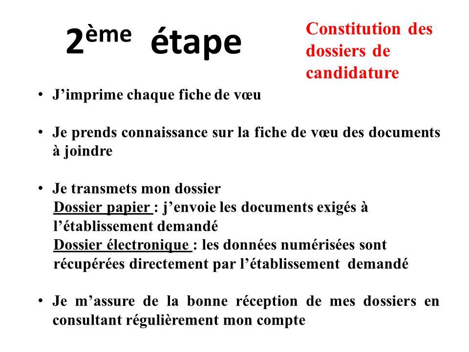 2ème étape Constitution des dossiers de candidature