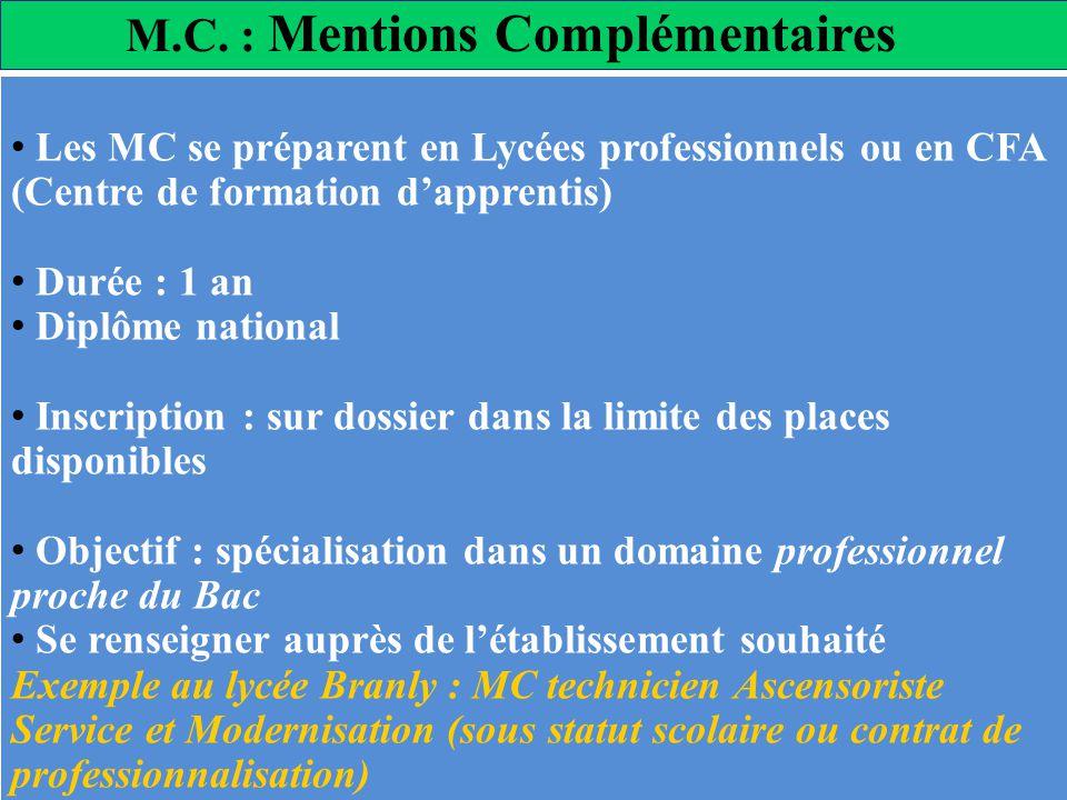 M.C. : Mentions Complémentaires