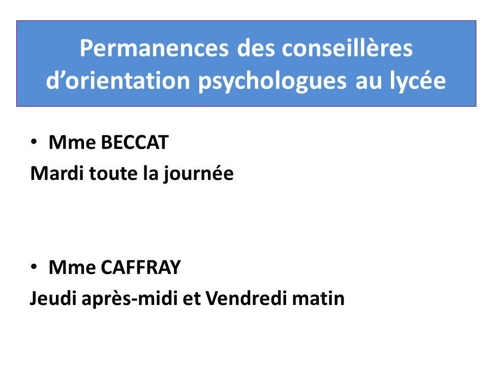 Permanences des conseillères d'orientation psychologues au lycée