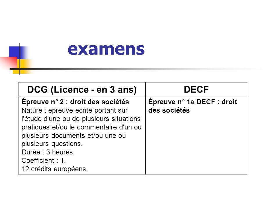 examens DCG (Licence - en 3 ans) DECF