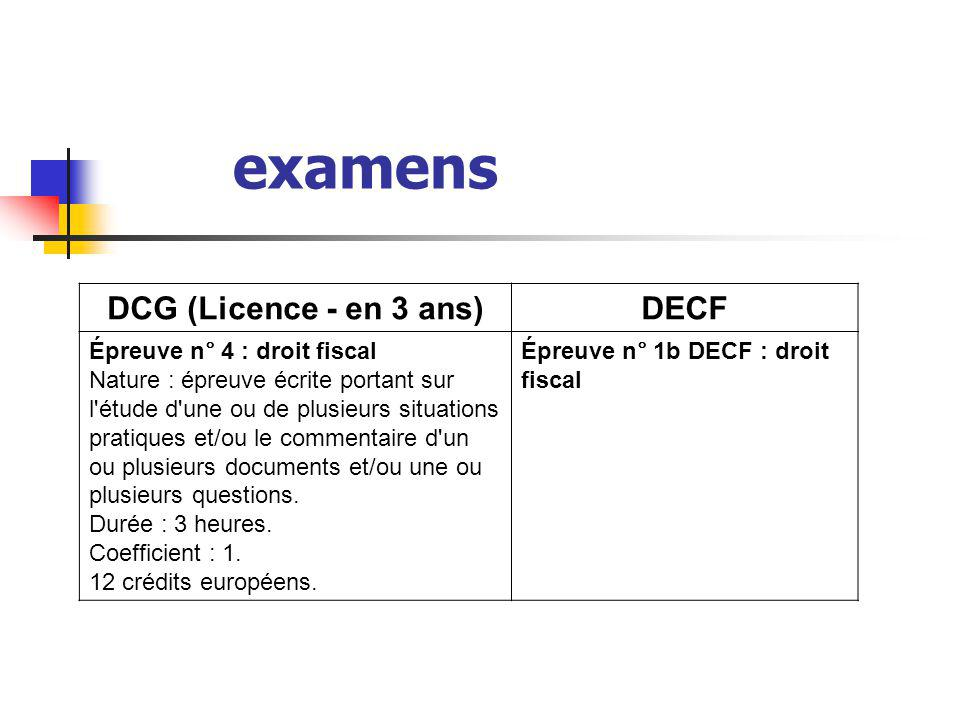 examens DCG (Licence - en 3 ans) DECF Épreuve n° 4 : droit fiscal