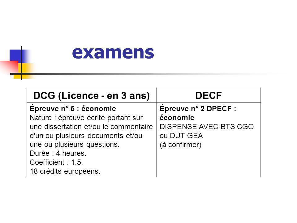 examens DCG (Licence - en 3 ans) DECF Épreuve n° 5 : économie