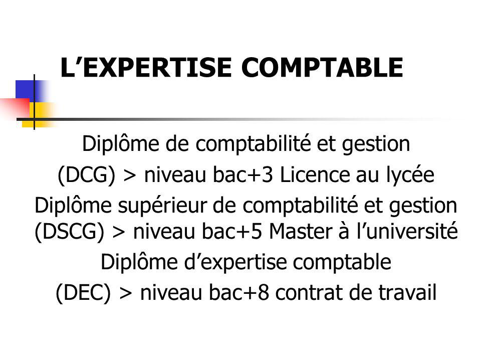 L'EXPERTISE COMPTABLE