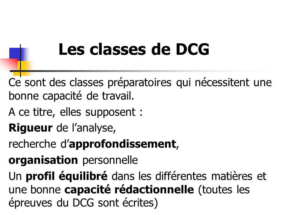 Les classes de DCG Ce sont des classes préparatoires qui nécessitent une bonne capacité de travail.
