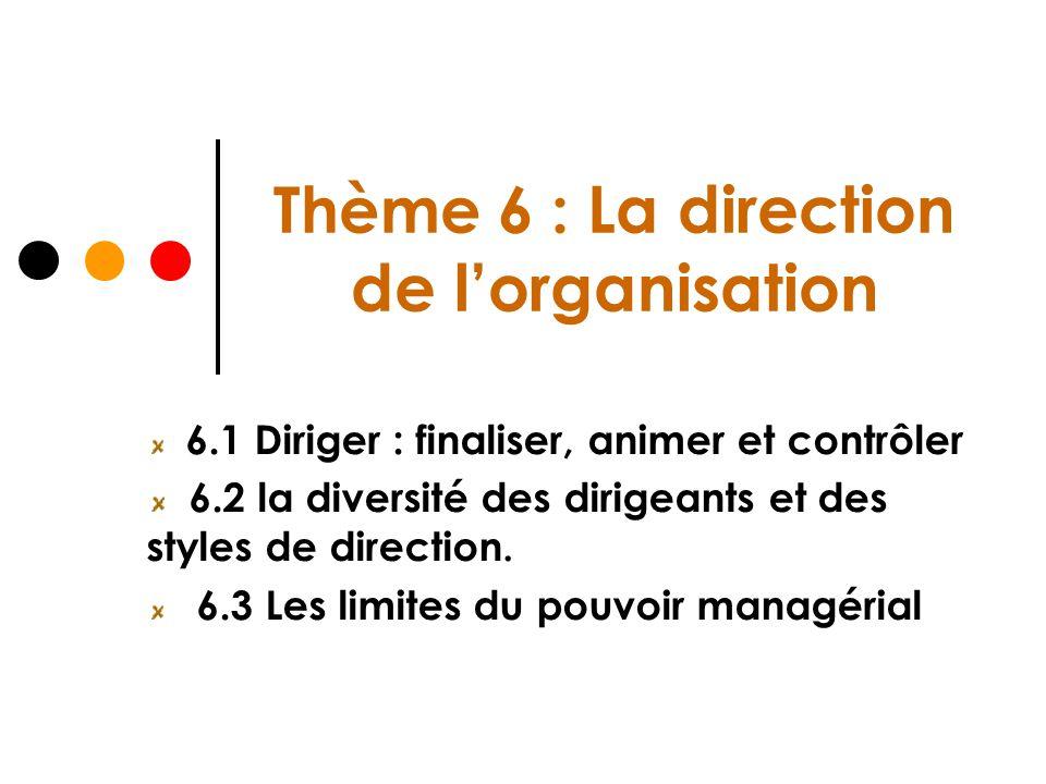 Thème 6 : La direction de l'organisation