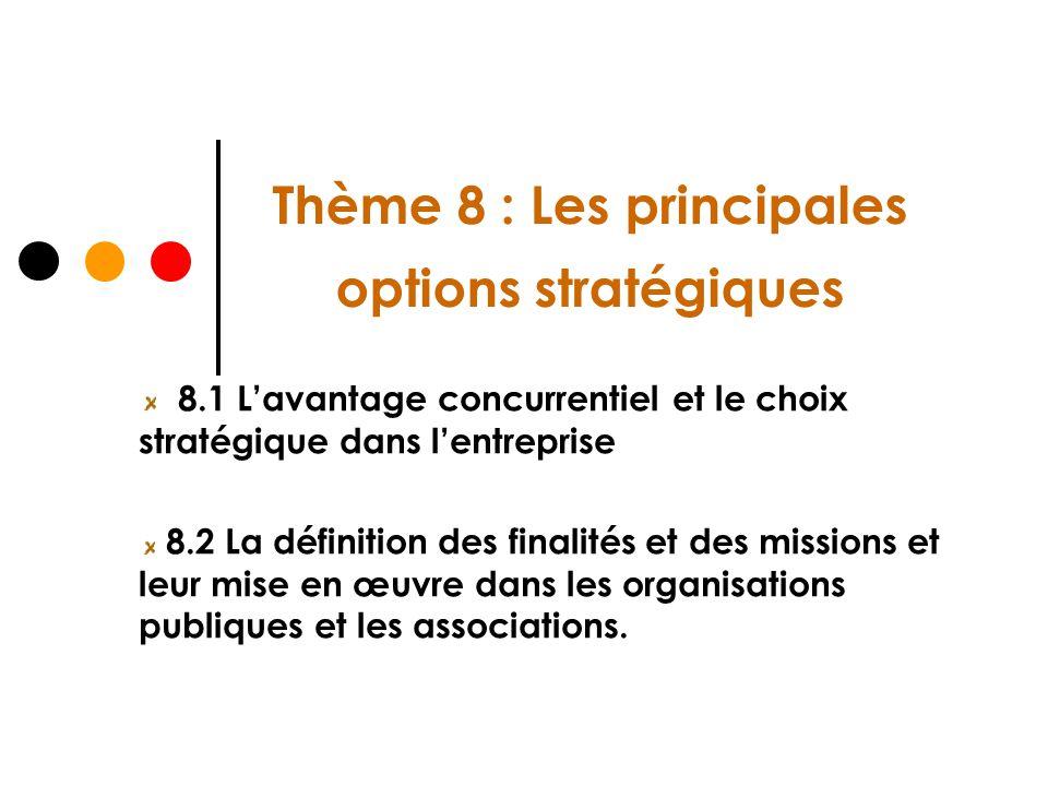 Thème 8 : Les principales options stratégiques