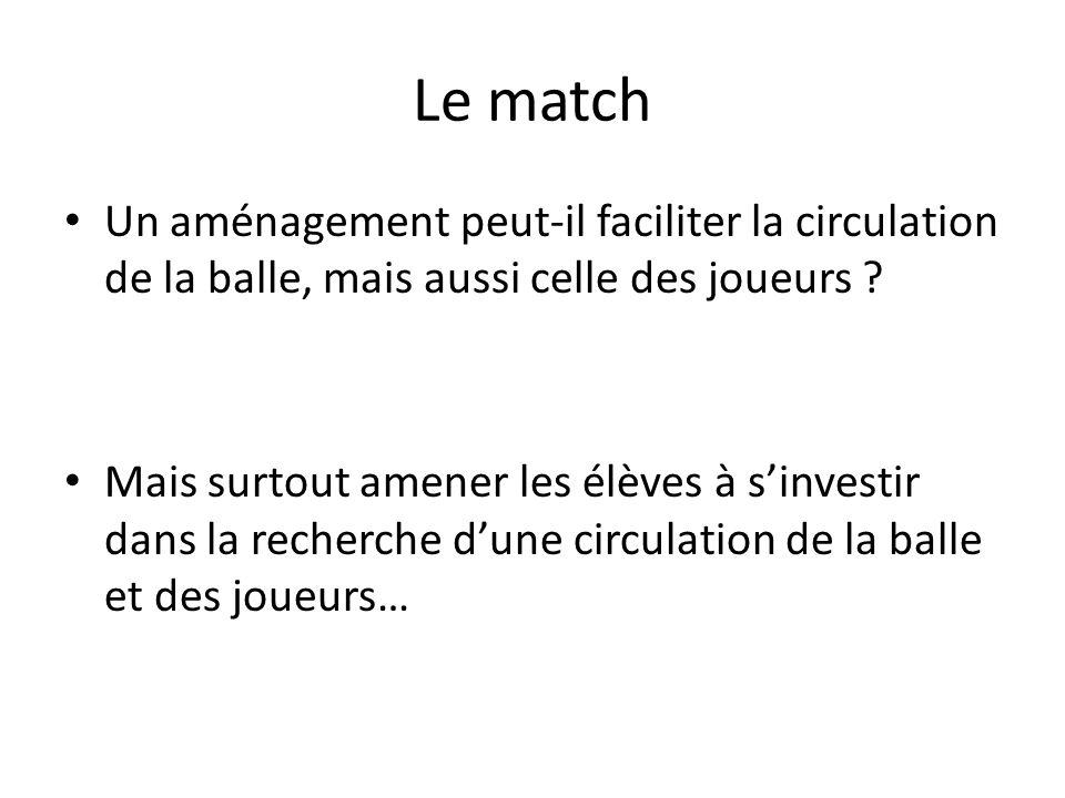 Le match Un aménagement peut-il faciliter la circulation de la balle, mais aussi celle des joueurs