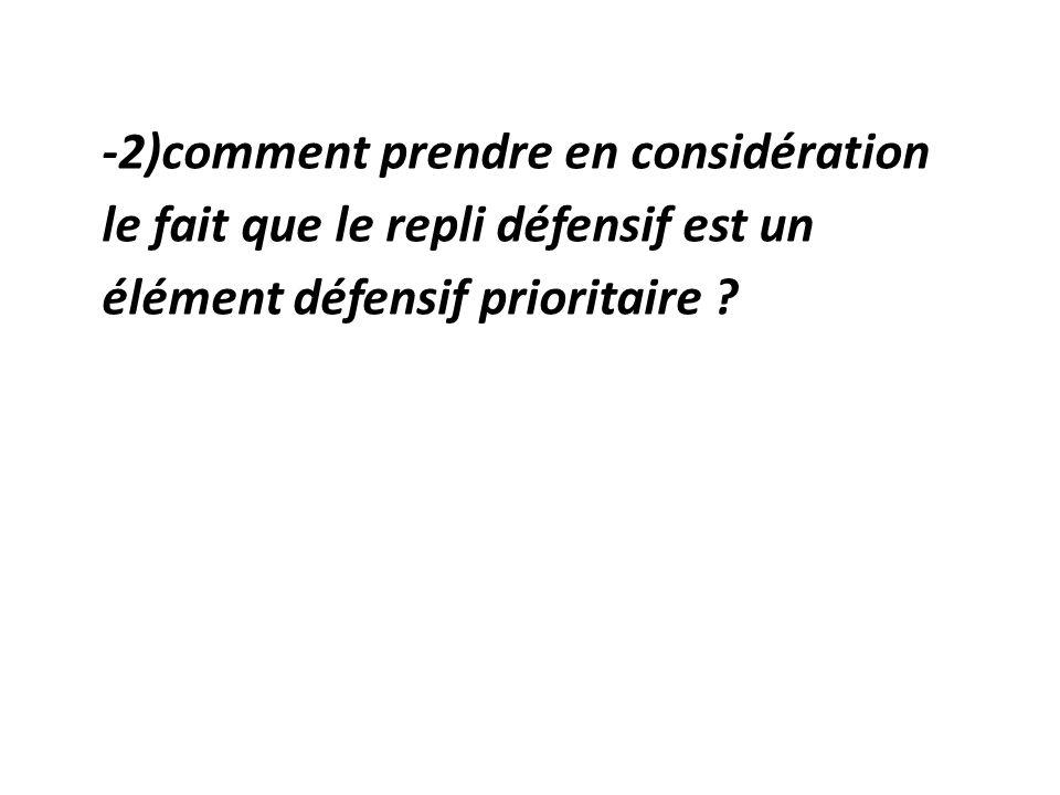 -2)comment prendre en considération le fait que le repli défensif est un élément défensif prioritaire