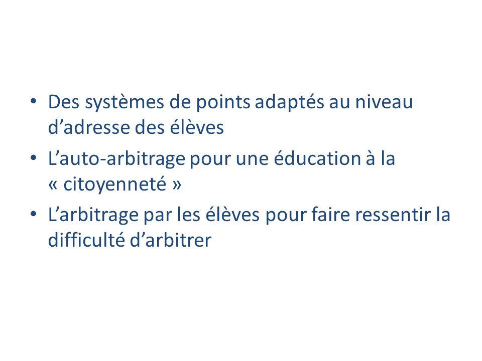 Des systèmes de points adaptés au niveau d'adresse des élèves