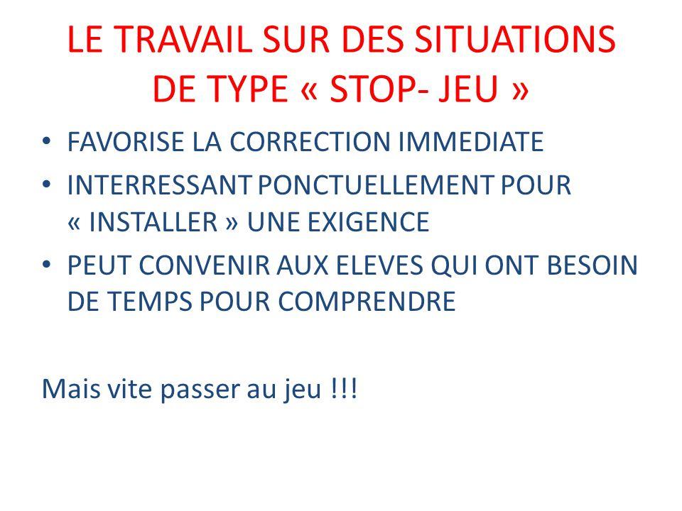 LE TRAVAIL SUR DES SITUATIONS DE TYPE « STOP- JEU »