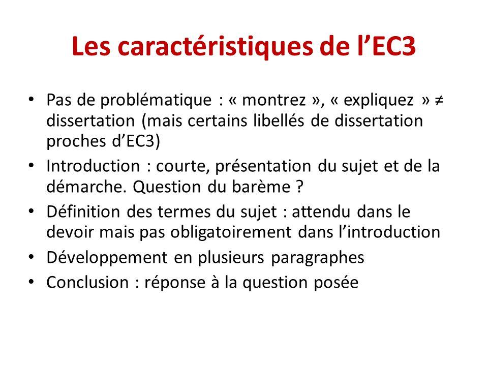 Les caractéristiques de l'EC3
