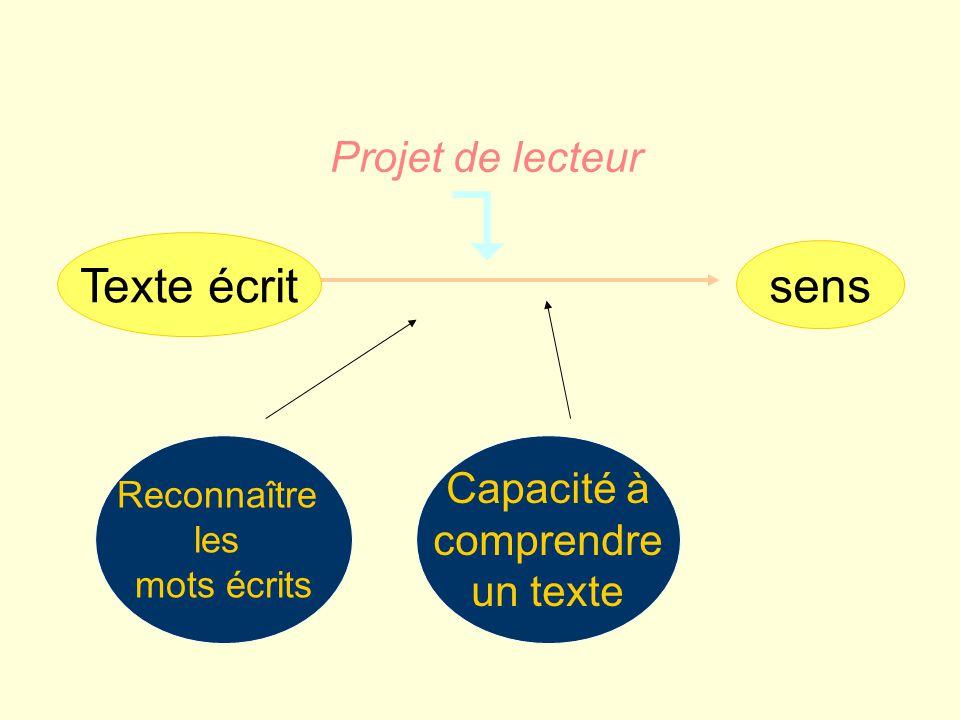  Texte écrit sens Projet de lecteur Capacité à comprendre un texte
