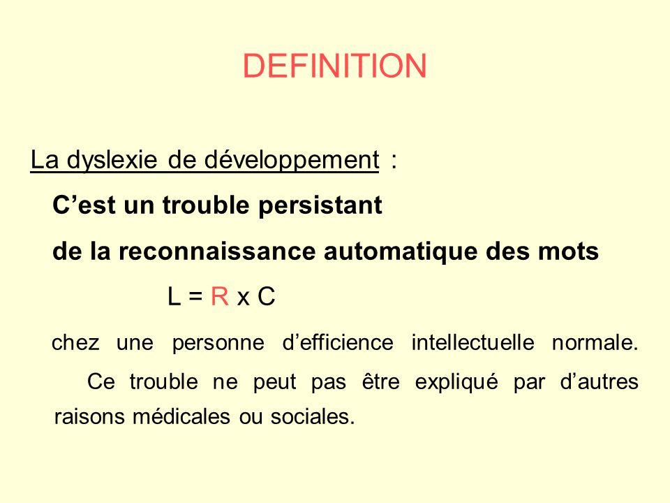 DEFINITION La dyslexie de développement : C'est un trouble persistant