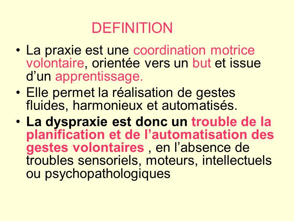 DEFINITION La praxie est une coordination motrice volontaire, orientée vers un but et issue d'un apprentissage.