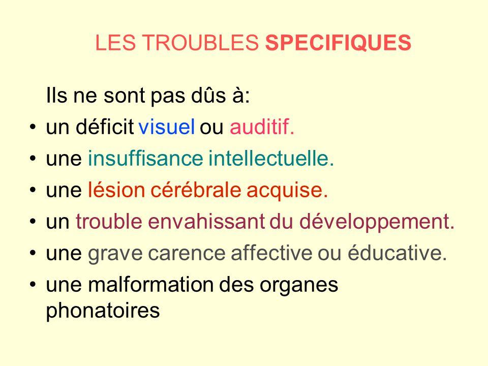 LES TROUBLES SPECIFIQUES