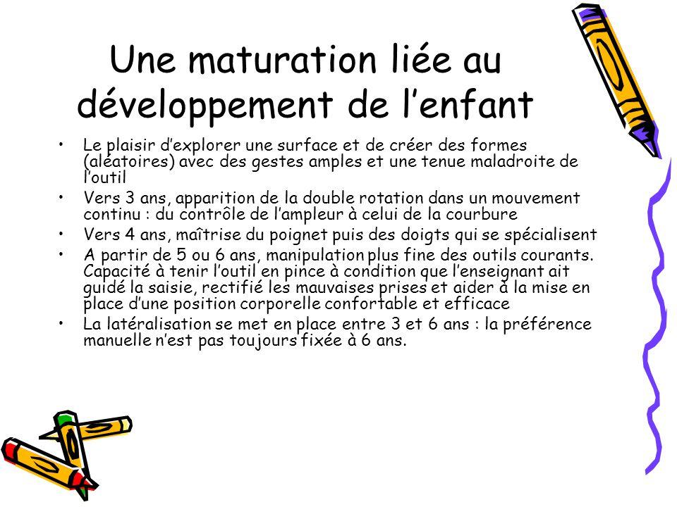 Une maturation liée au développement de l'enfant