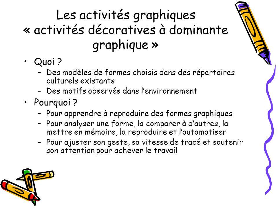 Les activités graphiques « activités décoratives à dominante graphique »