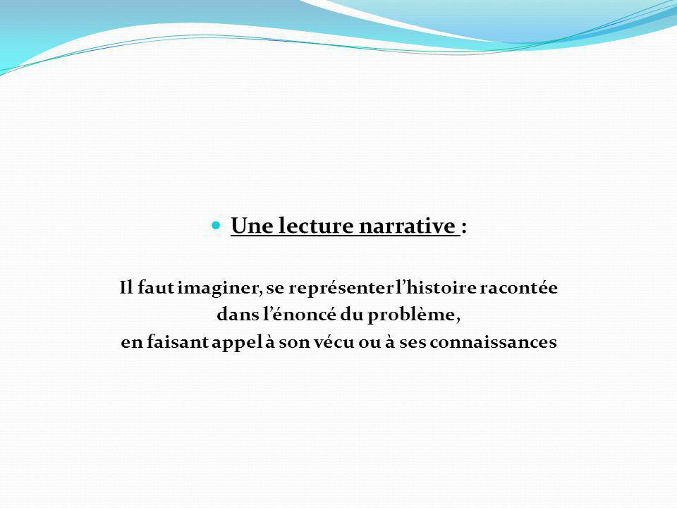 Une lecture narrative :