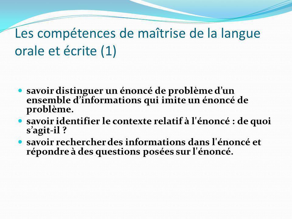 Les compétences de maîtrise de la langue orale et écrite (1)