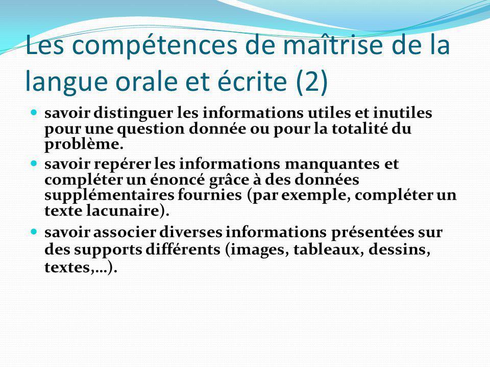 Les compétences de maîtrise de la langue orale et écrite (2)