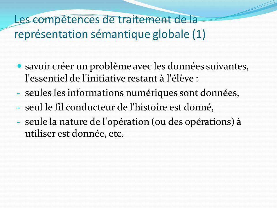 Les compétences de traitement de la représentation sémantique globale (1)