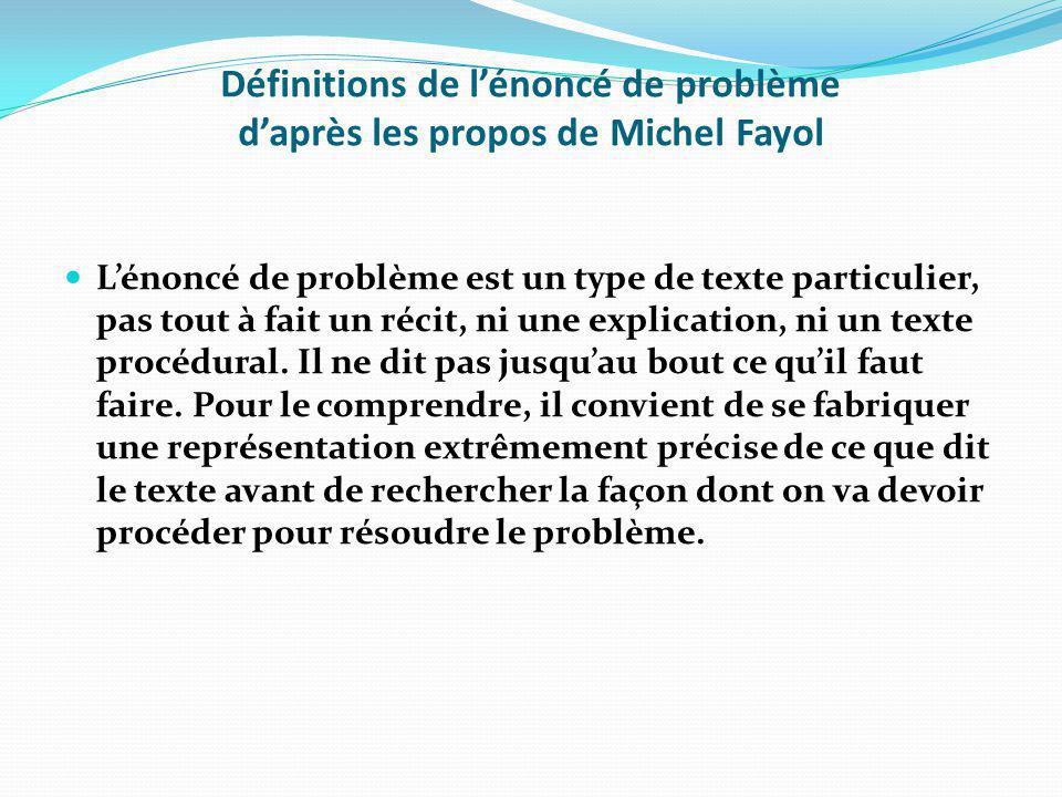 Définitions de l'énoncé de problème d'après les propos de Michel Fayol