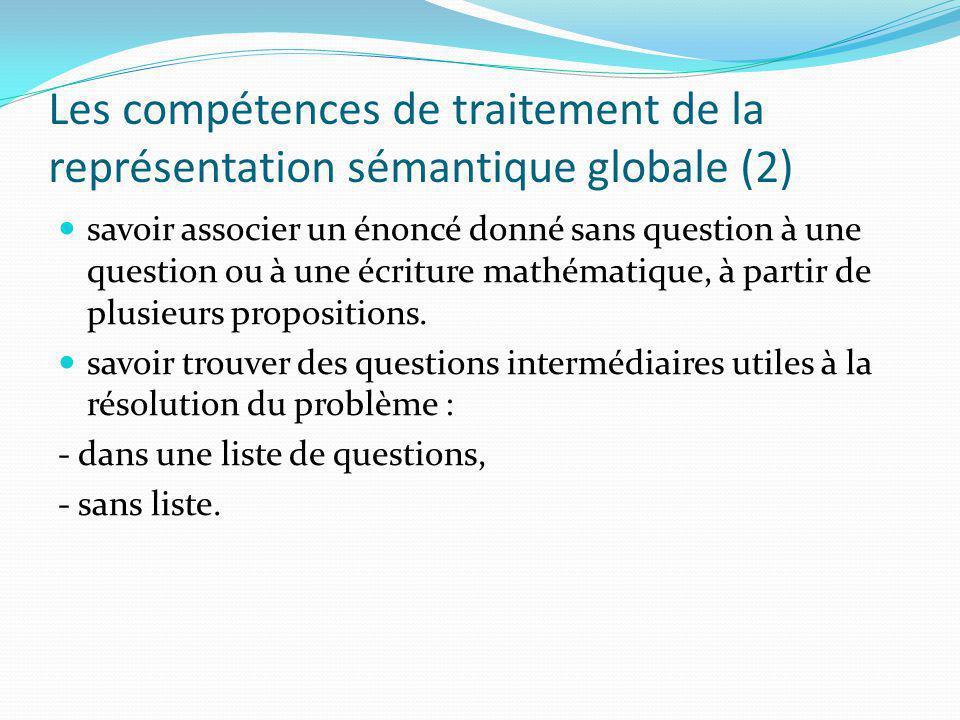 Les compétences de traitement de la représentation sémantique globale (2)