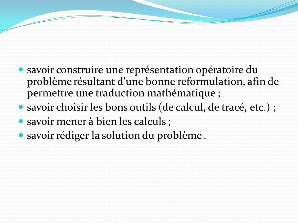 savoir construire une représentation opératoire du problème résultant d une bonne reformulation, afin de permettre une traduction mathématique ;