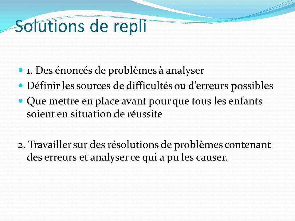 Solutions de repli 1. Des énoncés de problèmes à analyser