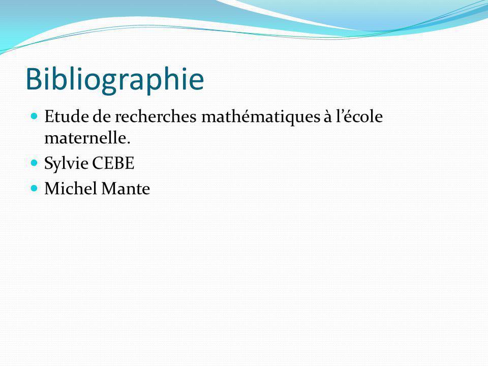 Bibliographie Etude de recherches mathématiques à l'école maternelle.