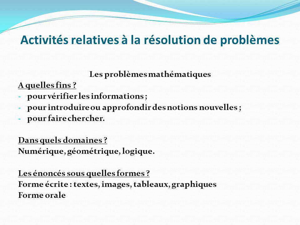 Activités relatives à la résolution de problèmes