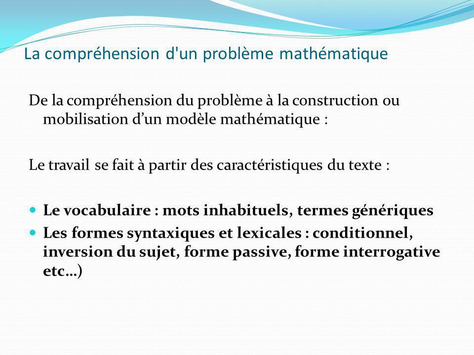 La compréhension d un problème mathématique